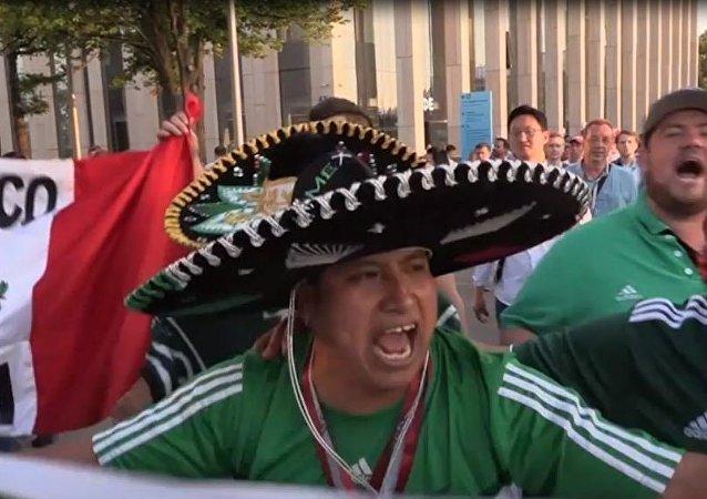 Meksykańscy kibice piłki nożnej w Moskwie skakali z radości