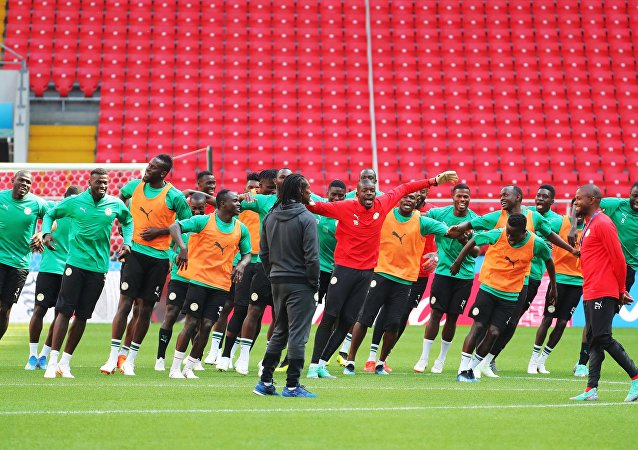 Reprezentacja Senegalu, na treningu w Moskwie, MŚ 2018