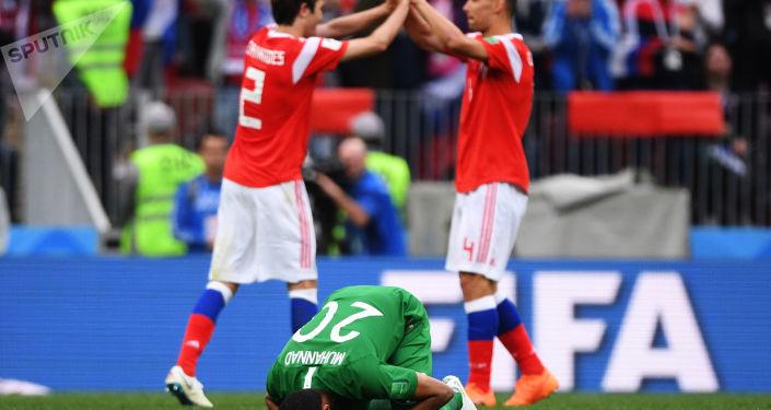 Mecz fazy grupowej Mistrzostw Świata w Piłce Nożnej między reprezentacjami Rosji i Arabii Saudyjskiej