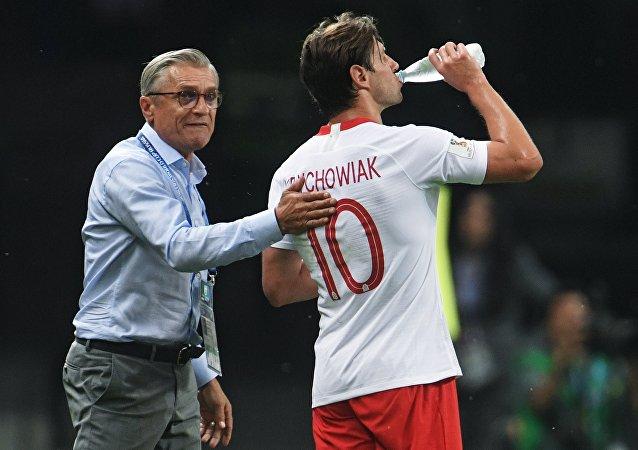 Adam Nawałka na meczu Polska - Kolumbia w Kazaniu