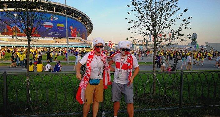 Polscy kibice w Kazaniu przed meczem Polski z Kolumbią na MŚ 2018