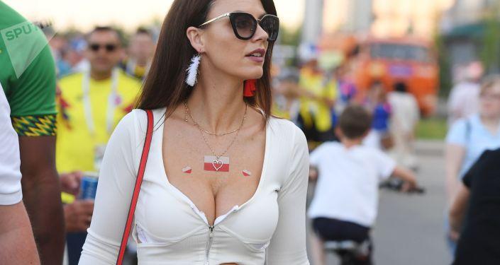 Piękna kibicka z Polski w Kazaniu