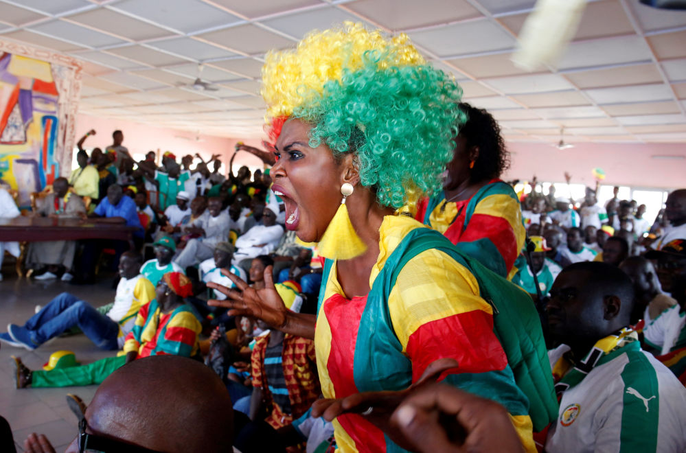 Kibice Senegalu podczas meczu MŚ 2018 Japonia-Senegal