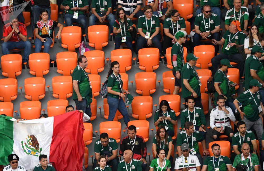 Meksykańscy kibice na meczu MŚ 2018 Meksyk-Szwajcaria