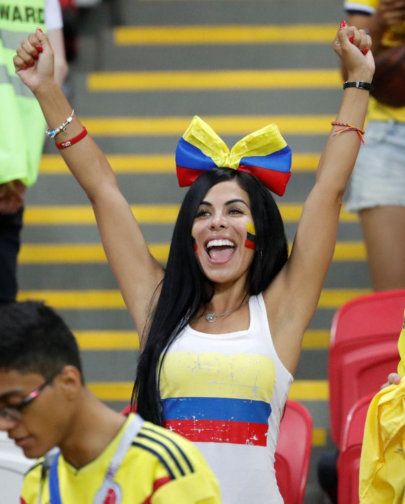 Kibicka reprezentacji Kolumbii podczas meczu MŚ 2018 Polska-Kolumbia