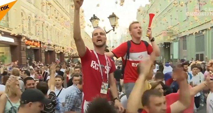 Kibice po meczu Rosja-Hiszpania