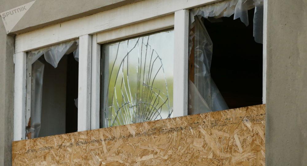Zniszczenia na linii demarkacyjnej w Donbasie między miastami Jasynuwata i Awdijiwka. Zdjęcie archiwalne