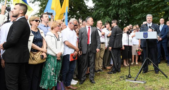 Petro Poroszenko podczas obchodów w Sahryniu