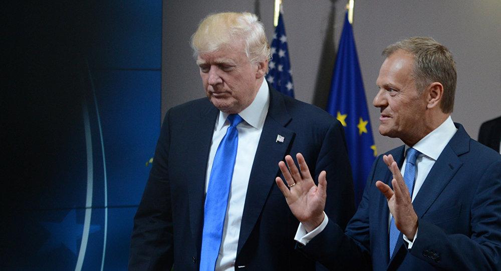 Prezydent USA Donald Trump i szef Rady Europejskiej Donald Tusk