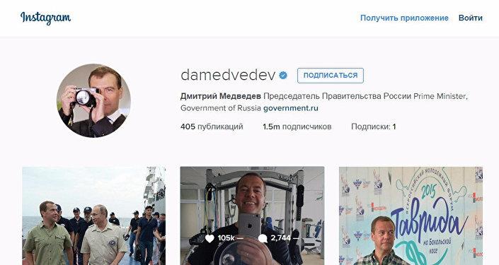 Premier Rosji Dmitrij Miedwiediew w Instagram