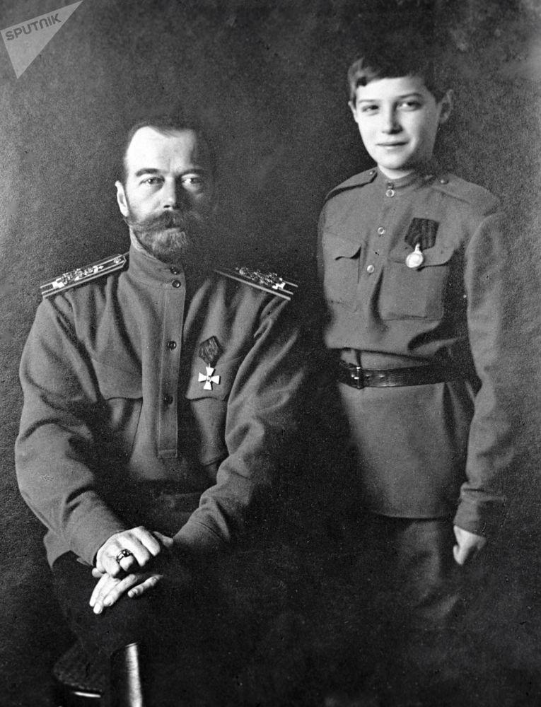 Mikołaj II z synem Aleksym