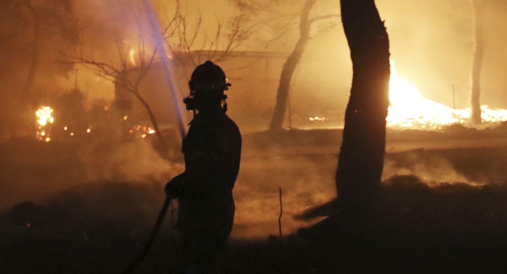 Strażak w strefie pożaru lasu na wschód od Aten