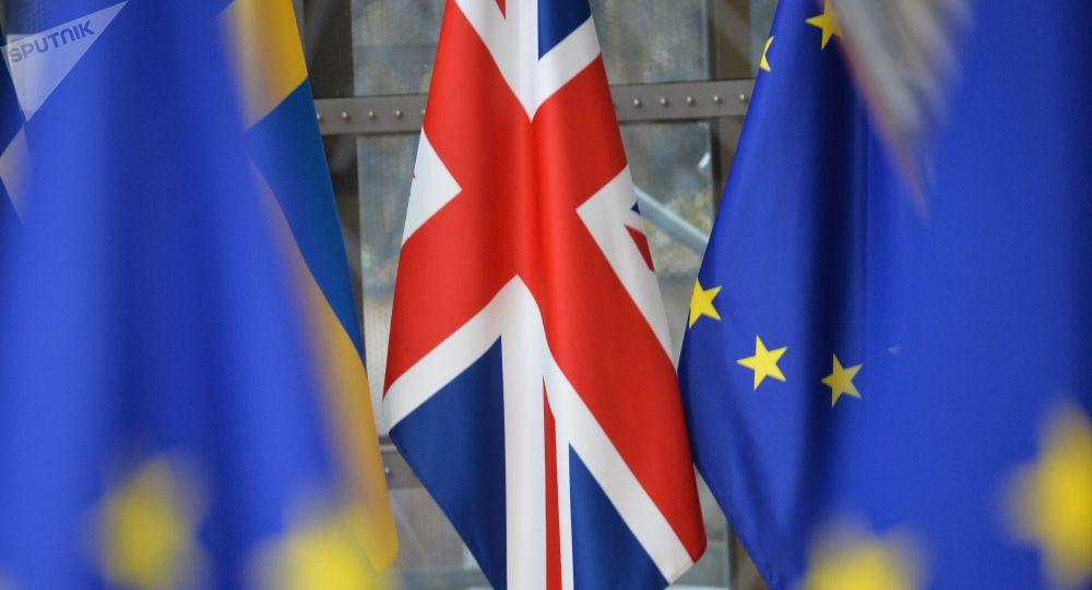 Flaga Wielkiej Brytanii na szczycie UE w Brukseli