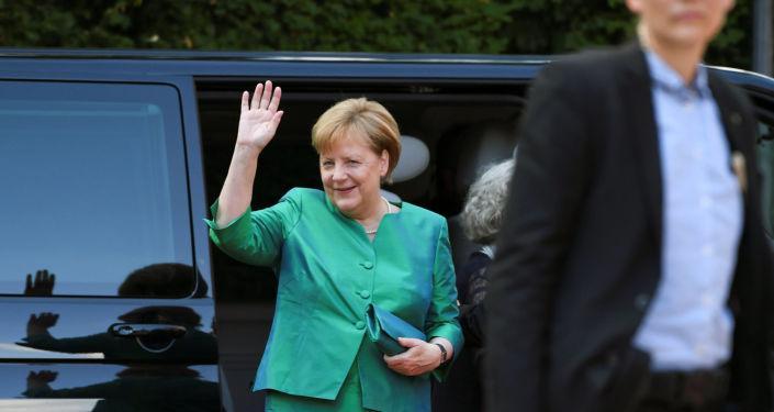 Kanclerz Niemiec Angela Merkel na otwarciu Festiwalu w niemieckim mieście Bayreuth