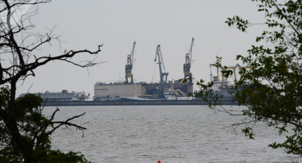 Widok na port Mariupol, Ukraina