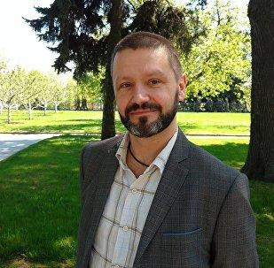 Polski publicysta Konrad Rękas. Moskwa.