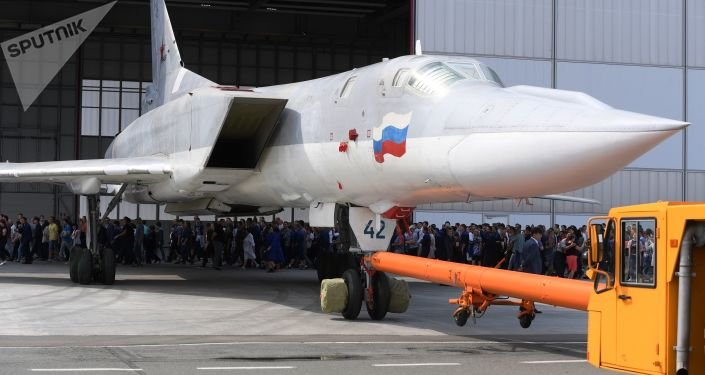 Rosyjski samolot bombowy Tu-22M3M w Kazaniu