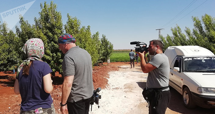 Dziennikarze na północy prowincji Hama