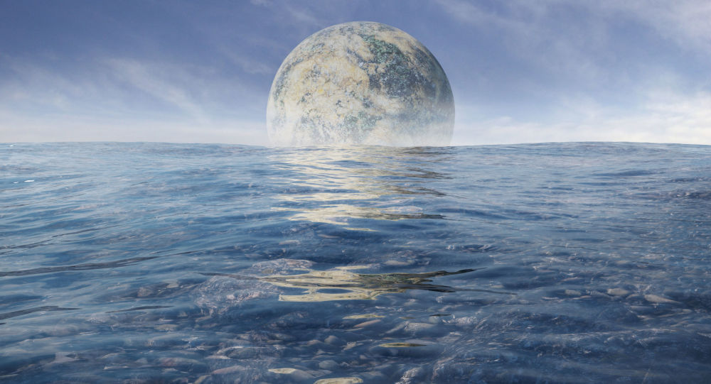 Egzoksiężyc na tle morza na egzoplanecie
