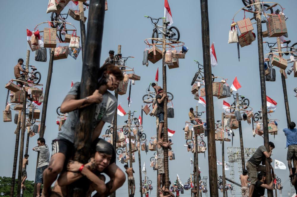 Uczestnicy zawodów Panjat Pinang w Dżakarcie.