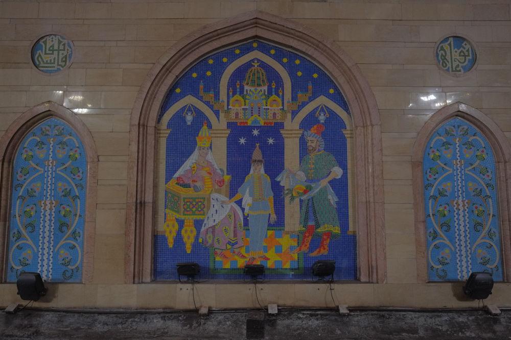 Fresk zdobiący przedsionek stacji metra w Kazaniu
