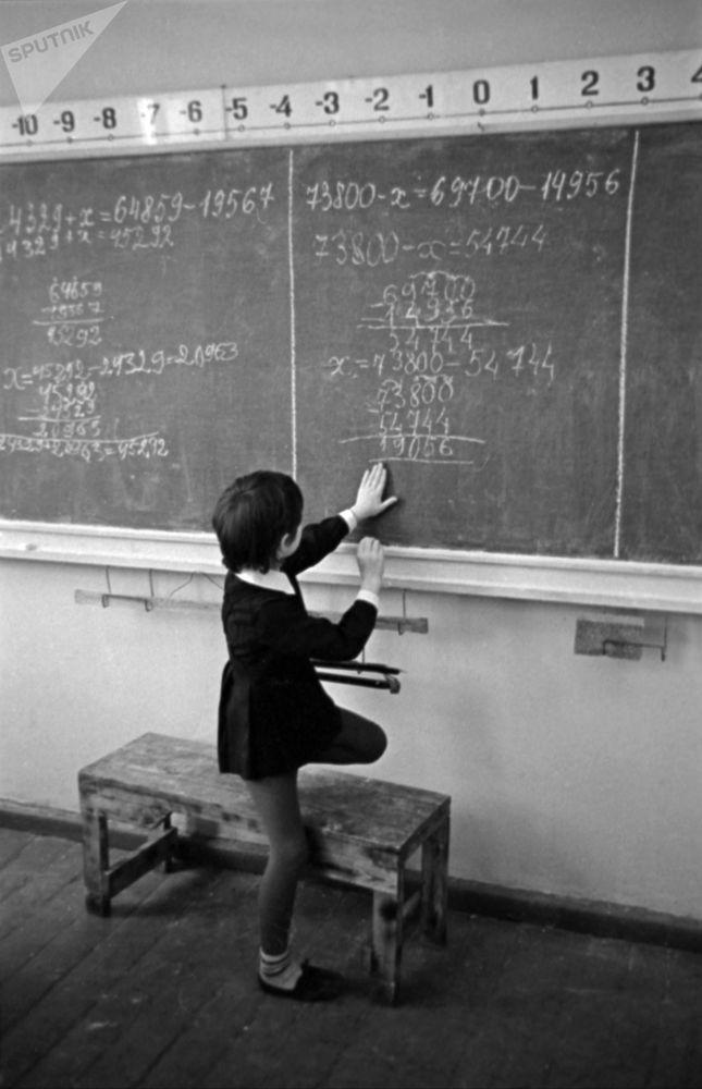Eksperymentalna szkoła matematyczna nr. 91 w Moskwie, 1976 r.
