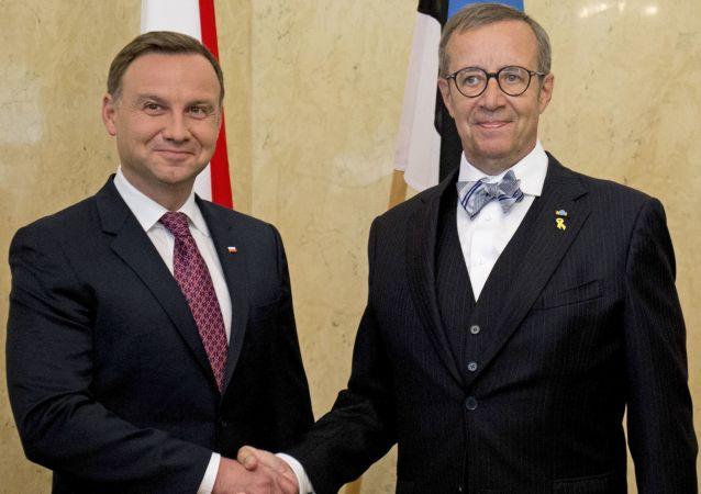 Prezydent Polski Andrzej Duda i prezydent Estonii Toomas Hendrik podczas spotkania w  Tallinie