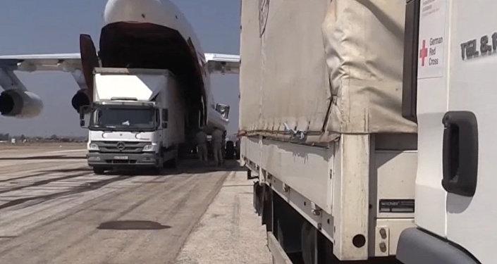 Samolot Ministerstwa Sytuacji Nadzwyczajnych Rosji dostarczył Syrii 34 tony pomocy humanitarnej