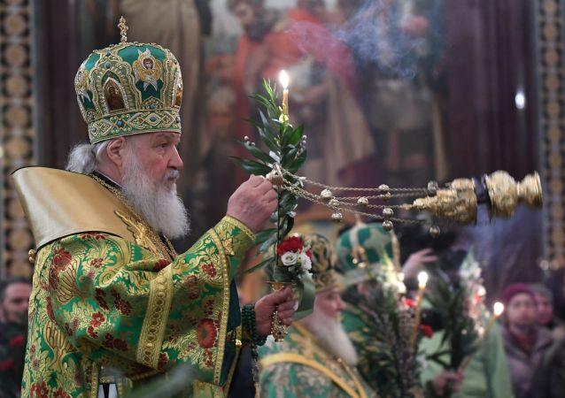 Liturgia z udziałem patriarchy w przeddzień Niedzieli Palmowej