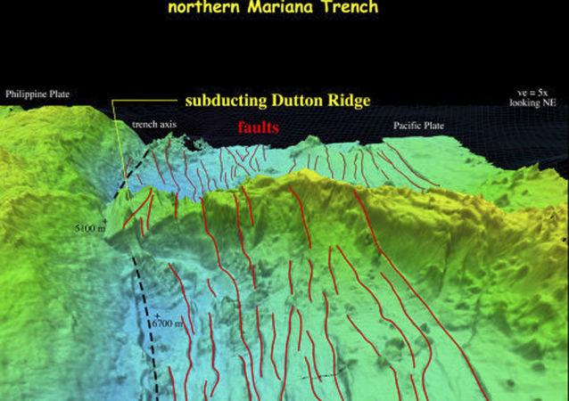 Trójwymiarowy model dna Rowu Mariańskiego