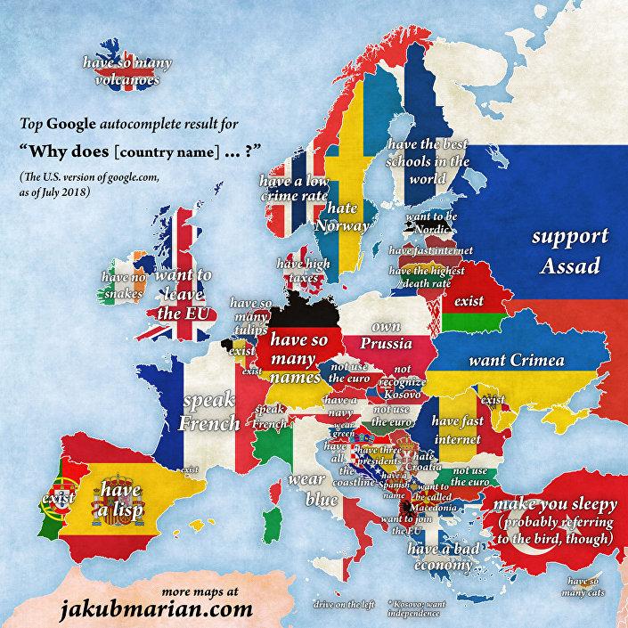 Europa według mieszkańców USA, by Google