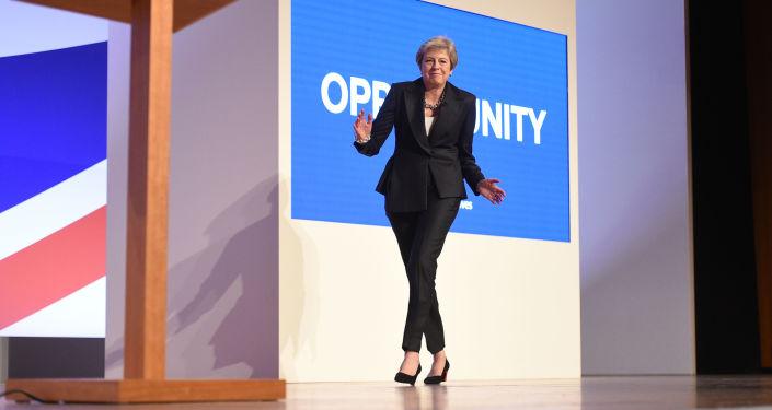 Premier Wielkiej Brytanii Theresa May na konferencji prasowej Conservative Party 2018