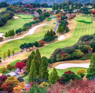 Pole golfowe w jesiennych barwach