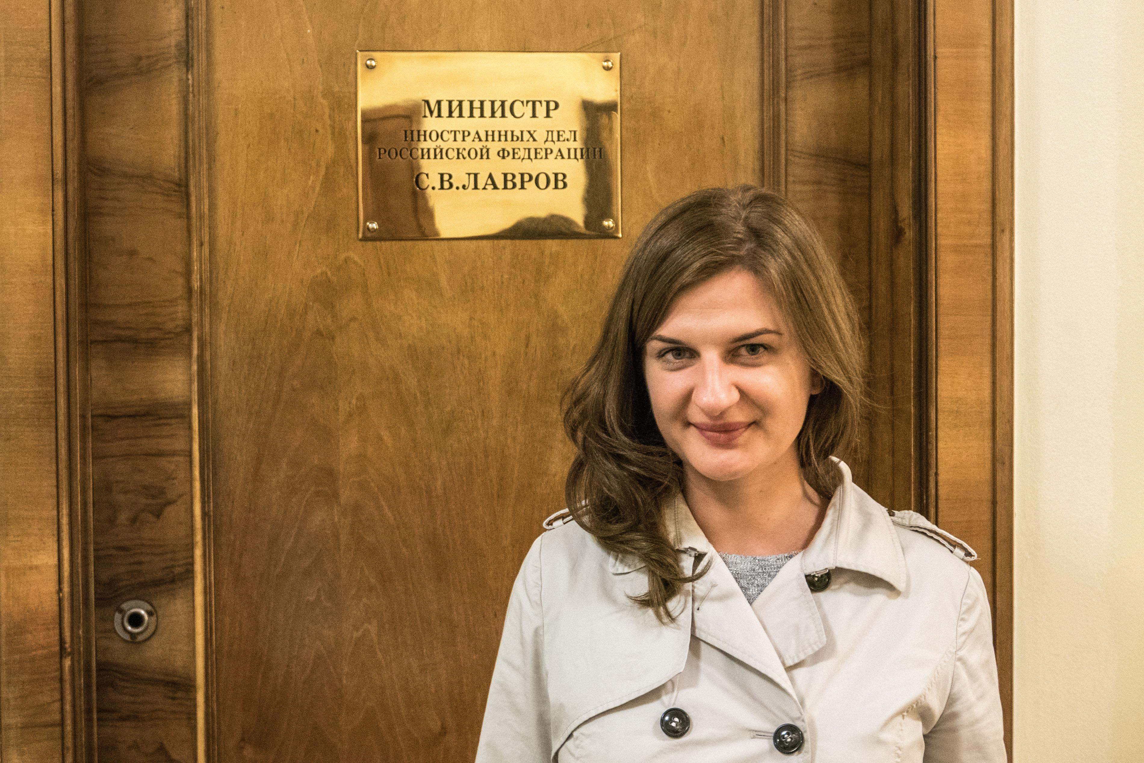 Polska dziennikarka Agnieszka Piwar w MSZ Rosji. Moskwa.