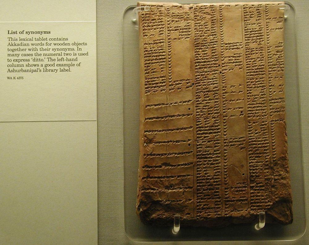 Tabela z pismem klinowym w Muzeum Brytyjskim