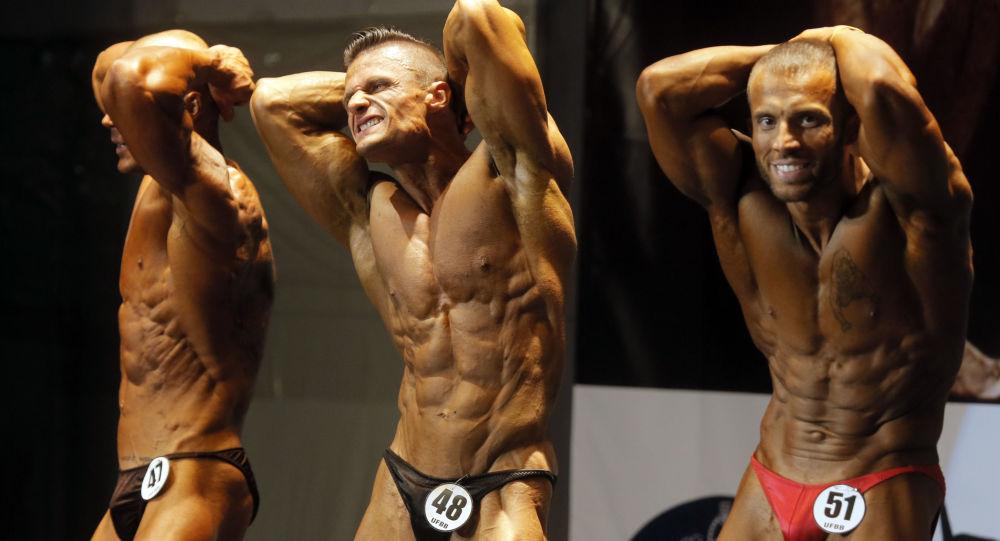 Uczestnicy mistrzostw w kulturystyce Open Bodybuilding and Fitness Competition w Kijowie