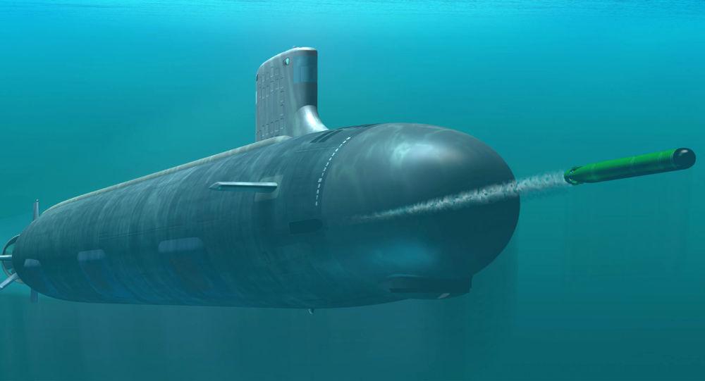 "Ilustracja okrętu podwodnego USS Indiana klasy ""Virginia"""