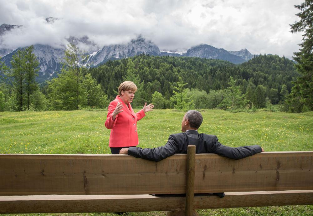 Angela Merkel i Barack Obama w południowych Niemczech, 2015 rok.