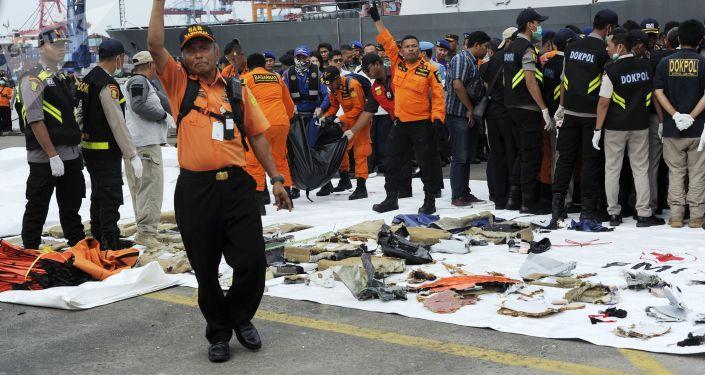 Przedmioty z miejsca katastrofy samolotu pasażerskiego Boeing 737 linii lotniczych Lion Air u zachodniego wybrzeża wyspy Jawa