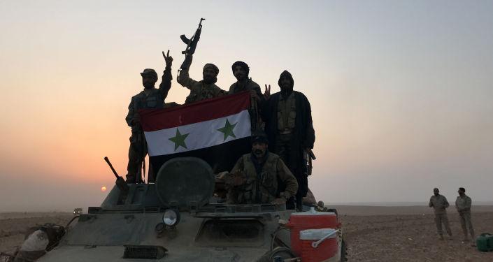 Syryjscy wojskowi w Abu Kamal, na granicy z Irakiem