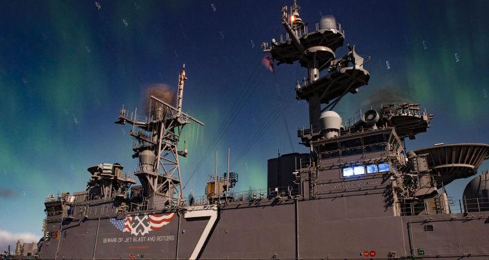 Amerykański okręt desantowy Iwo Jima podczas manewrów NATO Trident Juncture 2018 w Norwegii