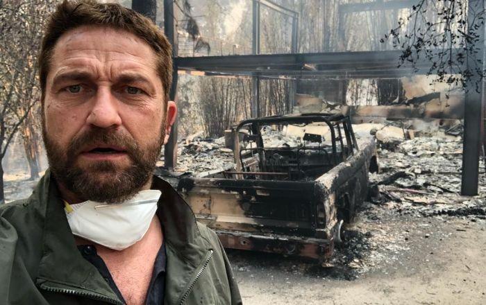Aktor Gerard Butler stoi przed swoim spalonym domem w Kalifornii