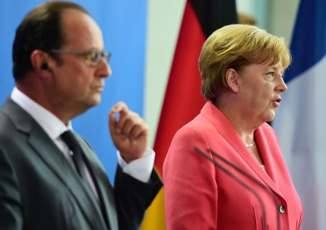 Kanclerz Niemiec Angela Merkel i prezydent Francji Francois Hollande w Berlinie