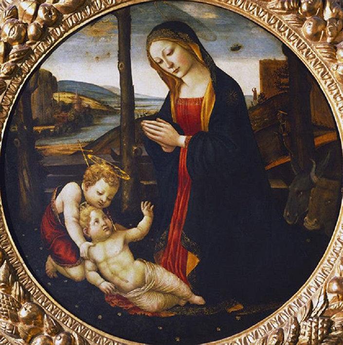 Obraz epoki Odrodzenia Madonna z dzieciątkiem i św. Janem pędzla nieznanego artysty