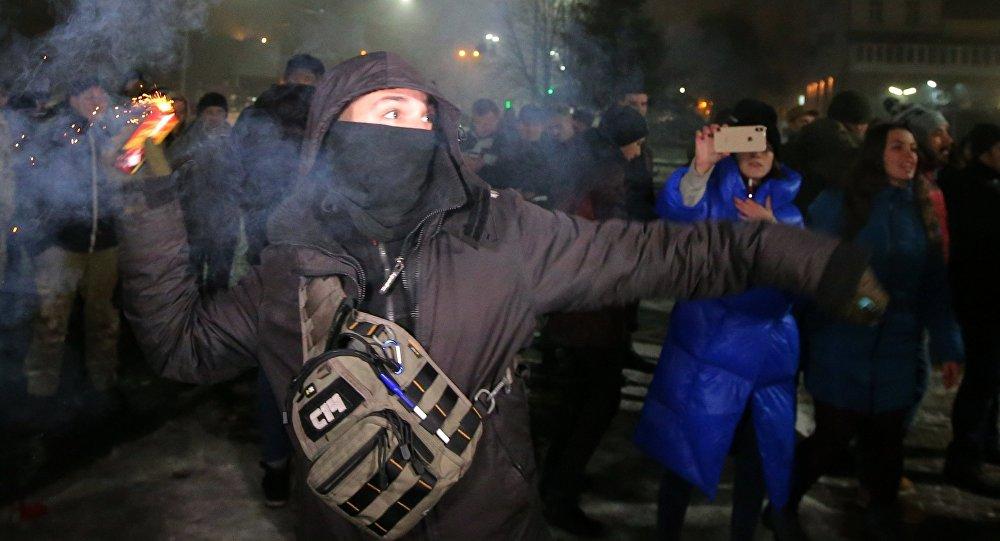 Protesty pod ambasadą Rosji w Kijowie