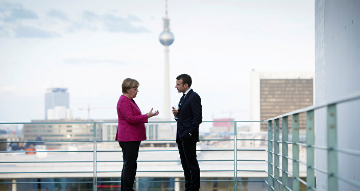 Angela Merkel i Emmanuel Macron w Berlinie, 2017 rok