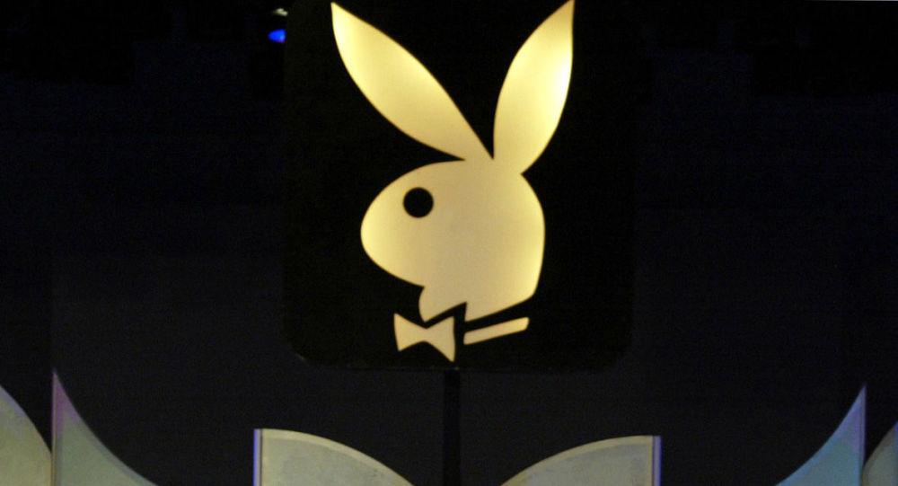 Logo Playboya w Los Angeles. Zdjęcie archiwalne