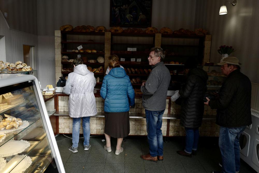Kolejka w piekarni w Katowicach