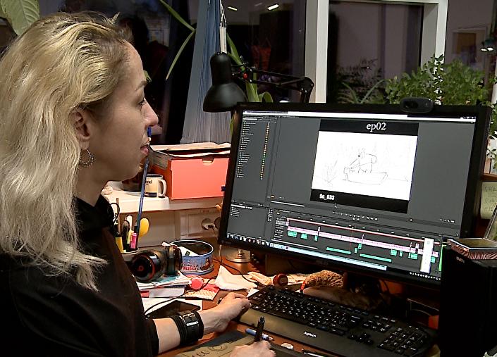 Reżyserka animowanej serii Natalia Malguina podczas pracy