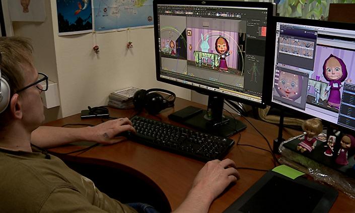 Animator Siergiej Kuliguin podczas pracy